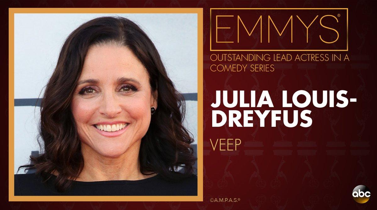 NEW: #Emmys Outstanding Lead Actress in a Comedy Series: Julia Louis-Dreyfus - 'Veep' https://t.co/W767C3Qgws https://t.co/wCOdu6Ciaj