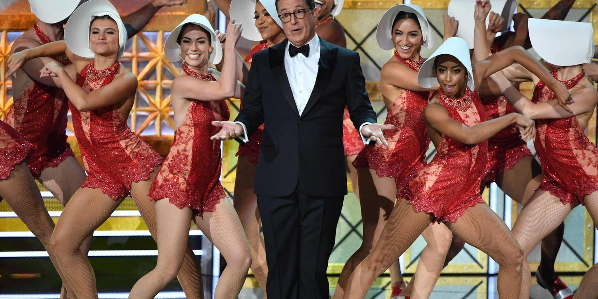 Colbert starts Emmys with song, dance and Sean Spicer