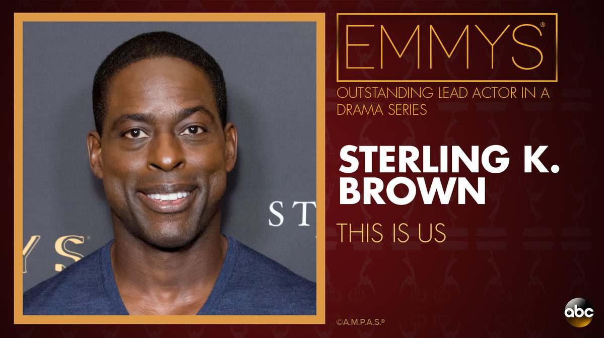 NEW: #Emmys Outstanding Lead Actor in a Drama Series: Sterling K. Brown - 'This Is Us' https://t.co/139HGF0aKI https://t.co/Nq4AoQ33Bu