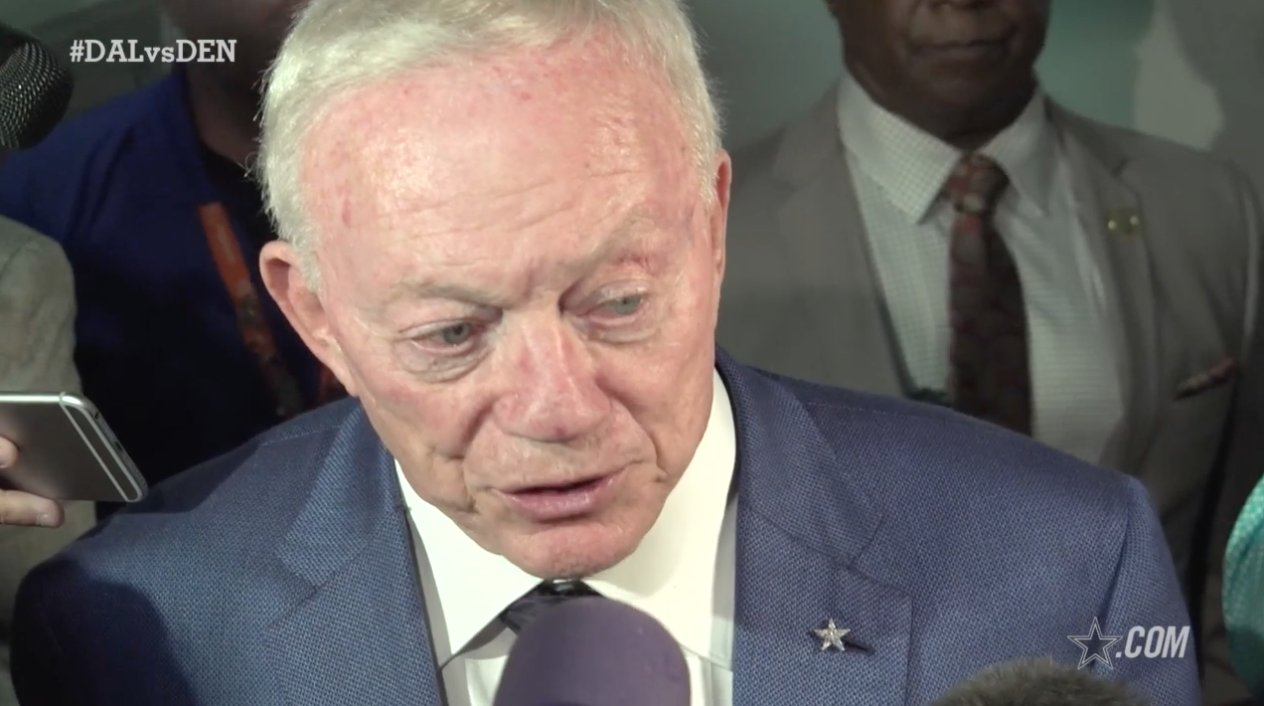 Jerry Jones reacts to the loss against the Broncos in week 2.  ��: https://t.co/Hsjr0Q6VSS https://t.co/NWQbFxa0yp