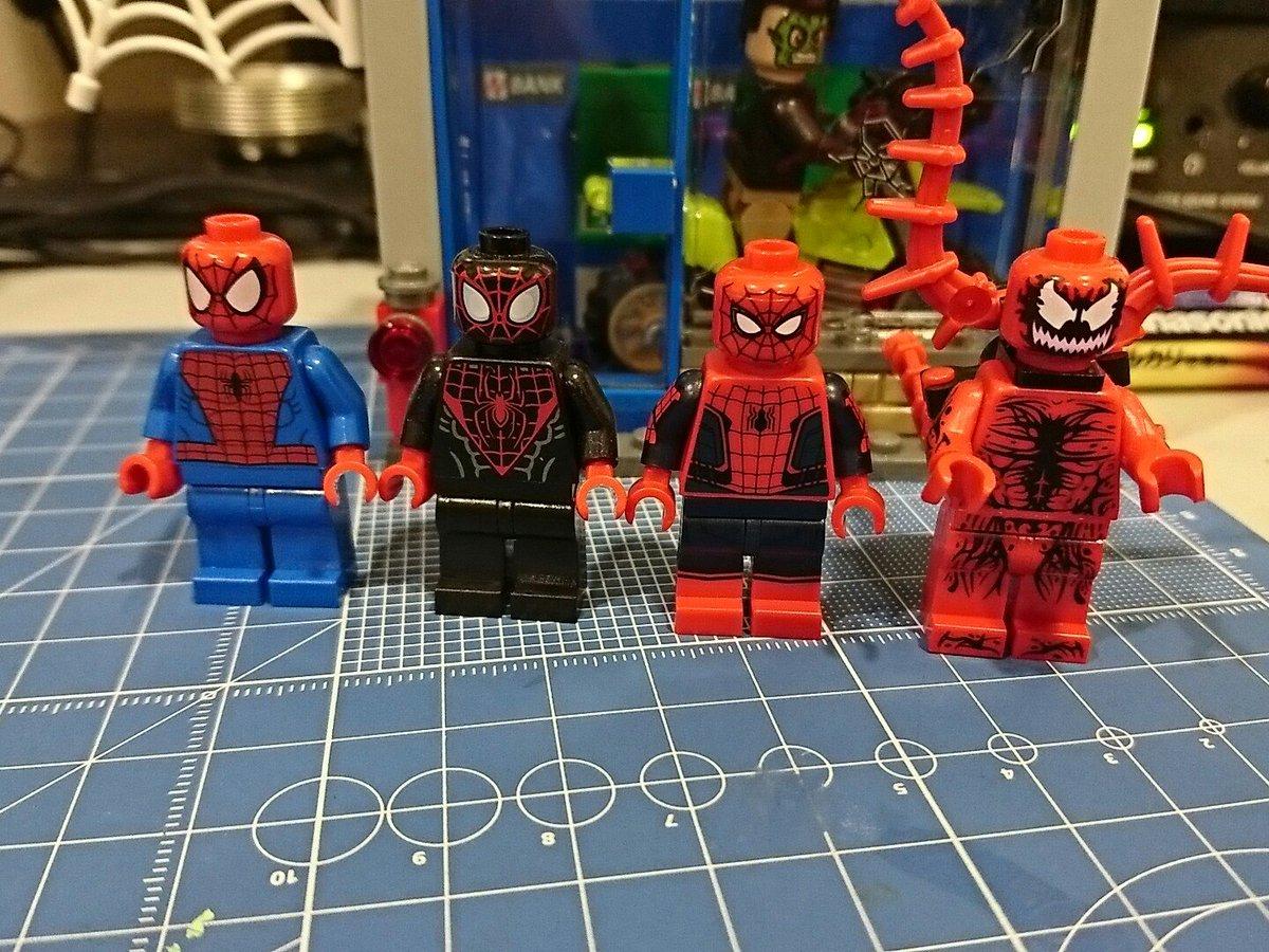 左からスパイダーマン、アルティメット・スパイダーマン(マイルズ・モラレス)、ホームカミング、カーネイジ。