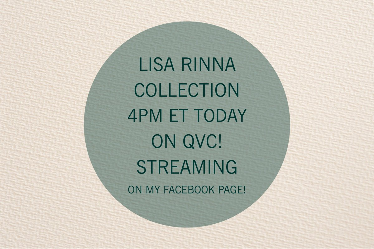 I'm back for my final show this weekend! 4pm ET only on @QVC! #LisaRinnaCollection https://t.co/SG4FC14L3b