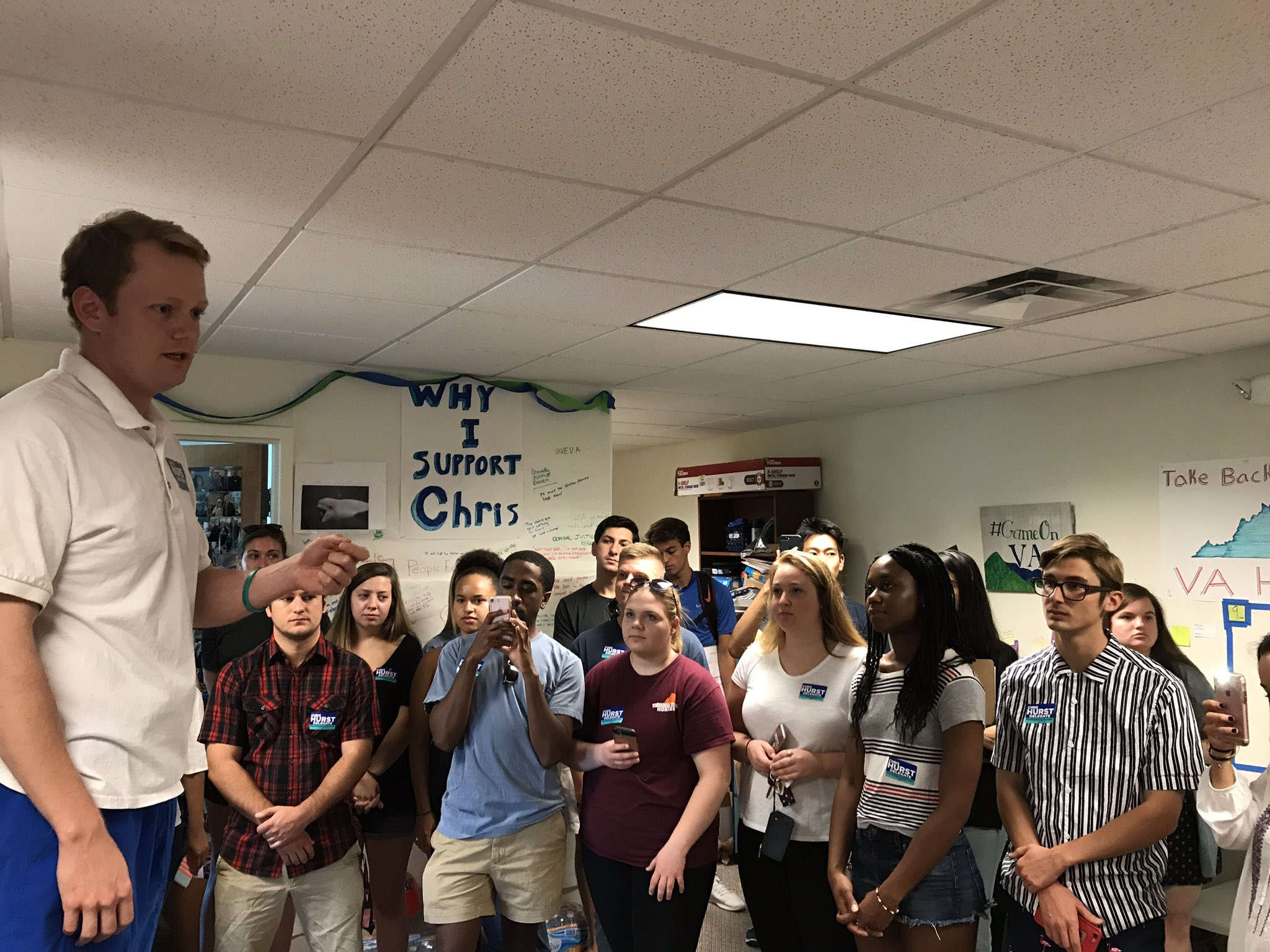 Huge crowd and energy for the @ChrisHurstVA canvass launch in Blacksburg! https://t.co/UzyDr2GJib