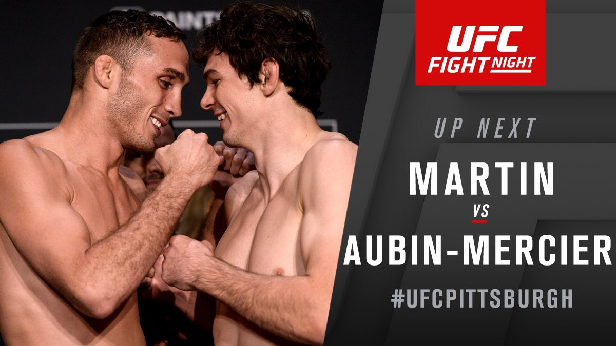 We keep it rolling! @TMartinMMA takes on @OliAubin in lightweight action NOW!  #UFCPittsburgh https://t.co/TEypO4qsJn
