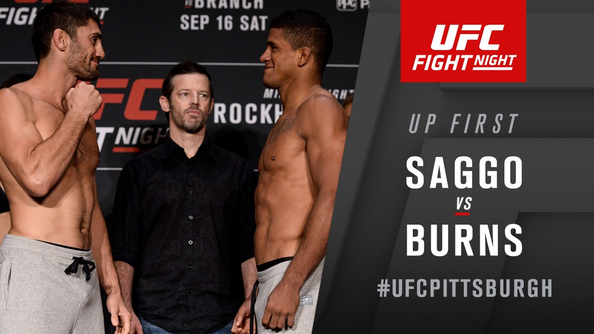 HERE. WE. GO.  @JasonSaggo takes on @GilbertDurinho to kick off #UFCPittsburgh on @FS1!! https://t.co/7IrSZ2sBY3