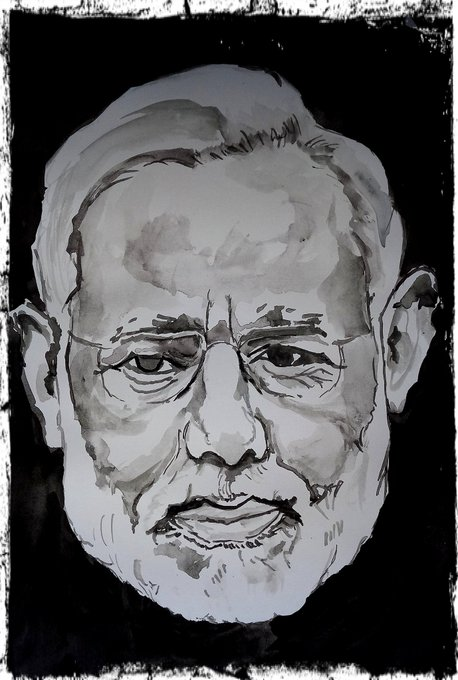 Happy birthday dear PM  Narendra Modi ji Watercolour monochrome on A4 paper  40 min