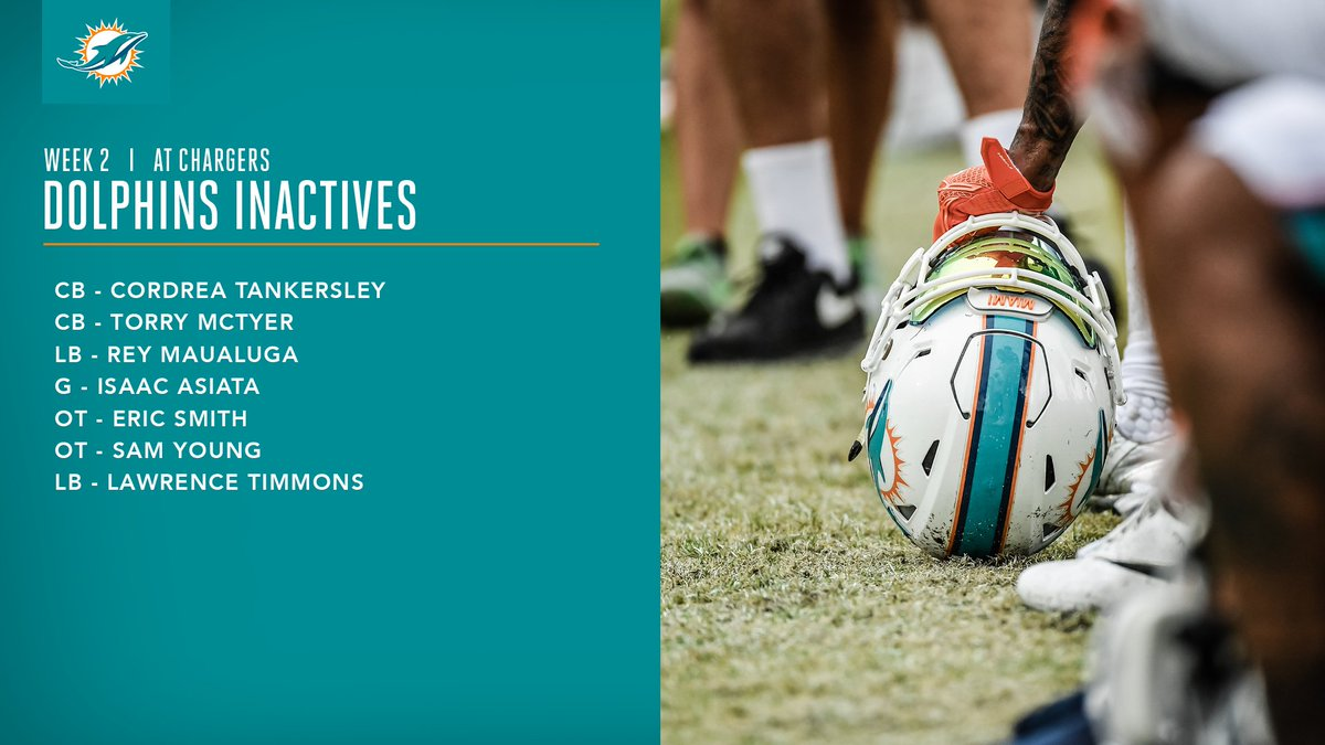 RT @MiamiDolphins: Inactives for #MIAvsLAC https://t.co/EaulWnWqOr