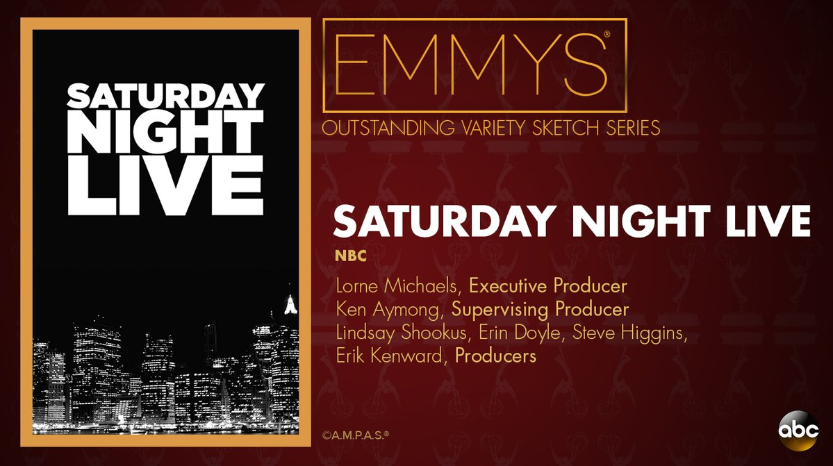 NEW: #Emmys Outstanding Variety Sketch Series: 'Saturday Night Live' https://t.co/cXDY4w9e8T https://t.co/wkPEgT0q4w