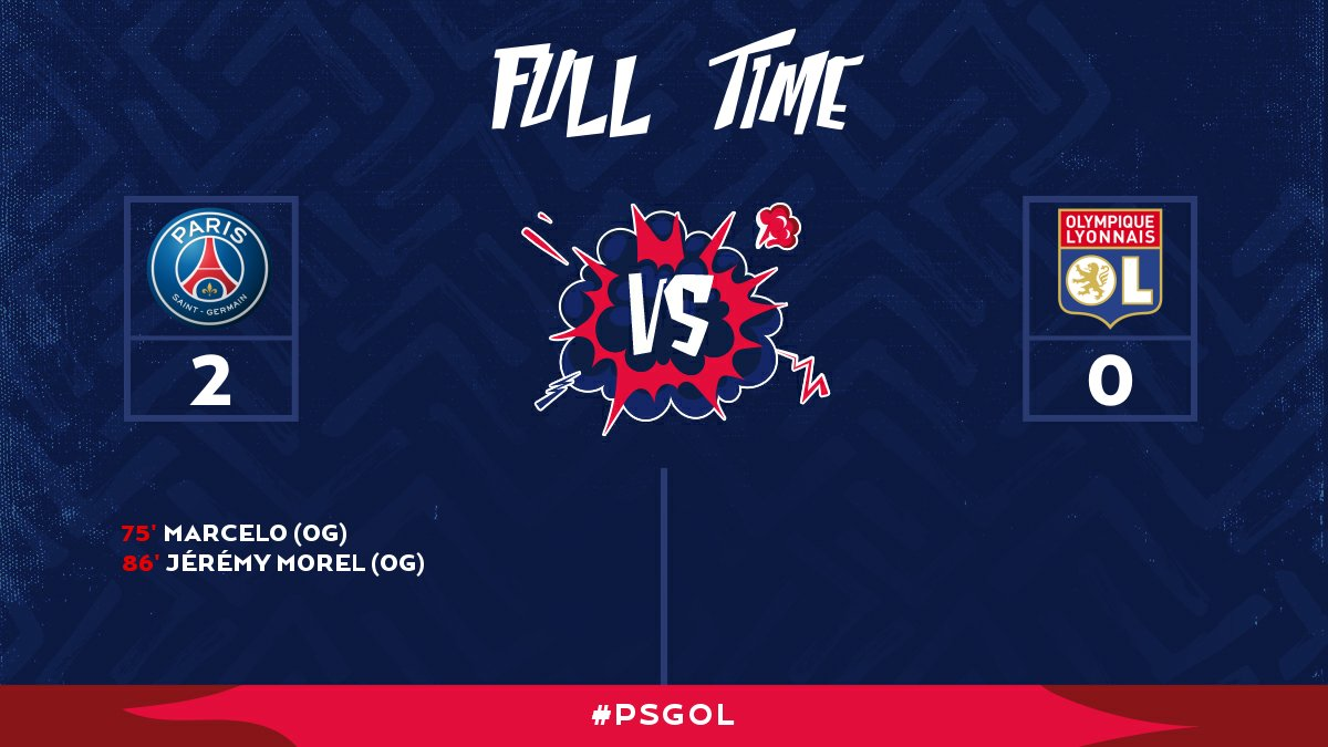 FULL TIME: PSG stay perfect on the season with a 2-0 win over @OL_English !! #PSGOL https://t.co/0K841ozC6S