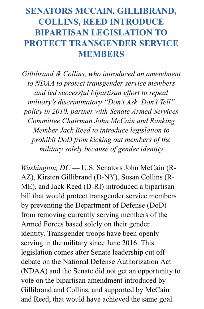 Sens. McCain, Gillibrand, Collins, and Reed to introduce bill to protect transgender service members. https://t.co/zIns4aZzrP