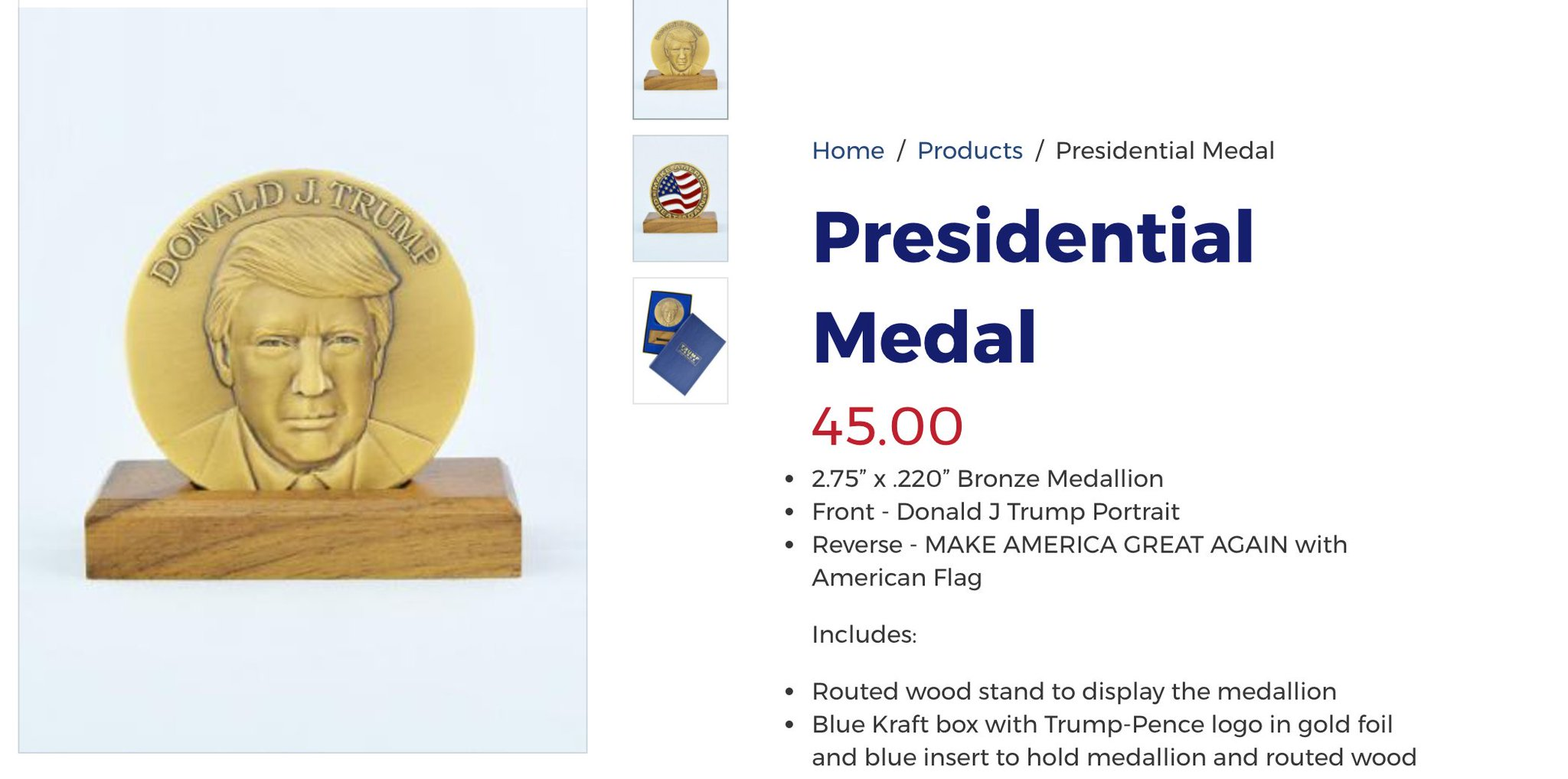 "Trump's campaign is now selling 'Presidential Medals""  https://t.co/beHqPP5CKG https://t.co/WxD6PWi2PU"