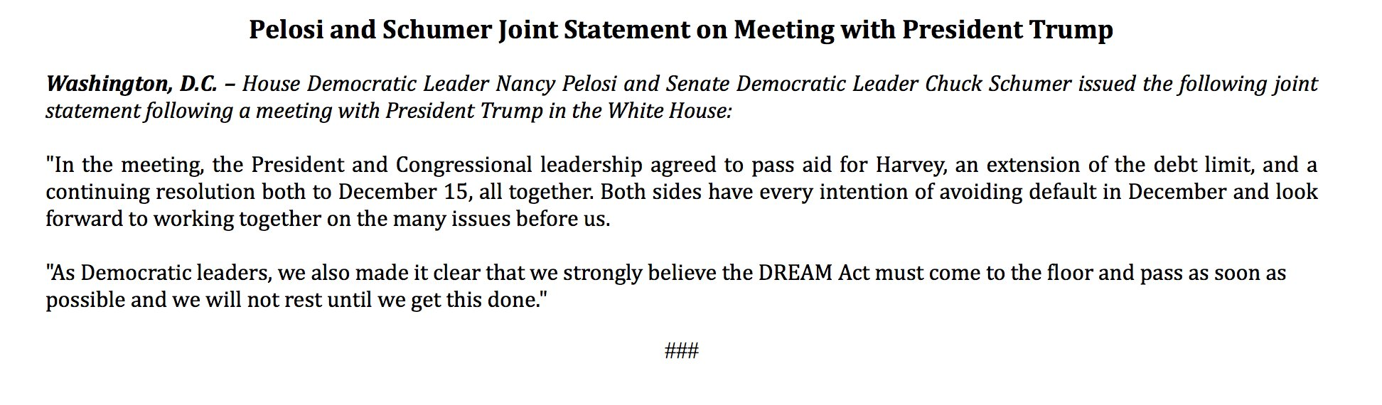 Pelosi and Schumer Joint Statement on Meeting with President Trump https://t.co/j6NbZN0pi1