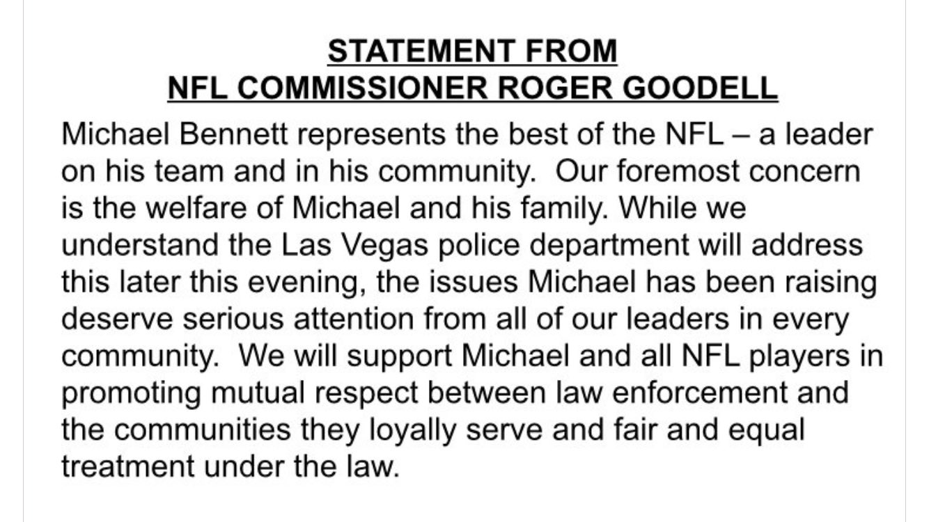 A statement from @nflcommish, who says #Seahawks DL Michael Bennett represents the 'best of the NFL.' https://t.co/S5G9Vjais9