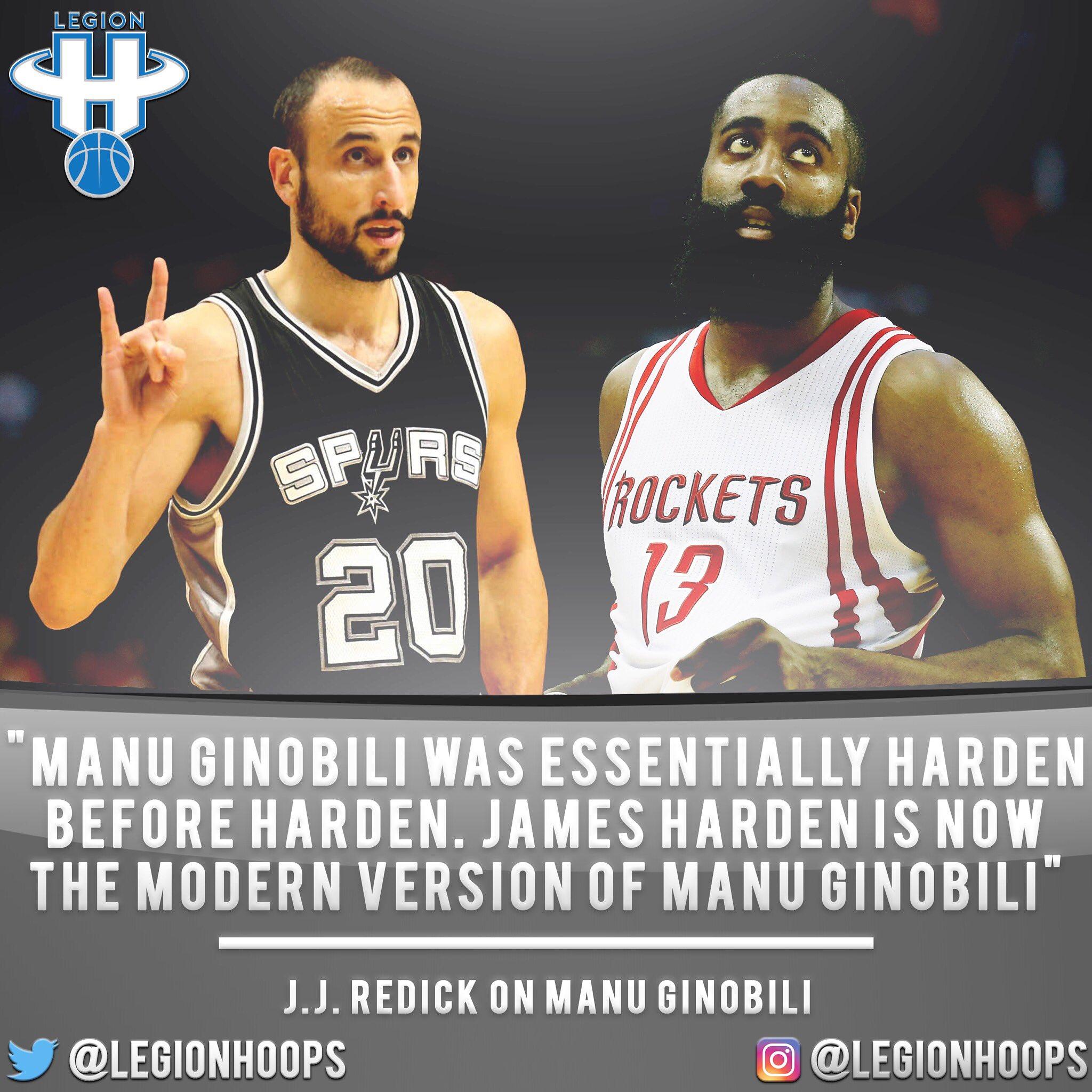 "J.J. Redick believes James Harden is a ""modern"" Manu Ginobili. https://t.co/1Ngn0CdcpD"