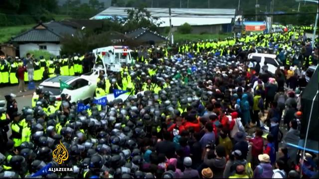Protests after South Korea deploys controversial US anti-missile system