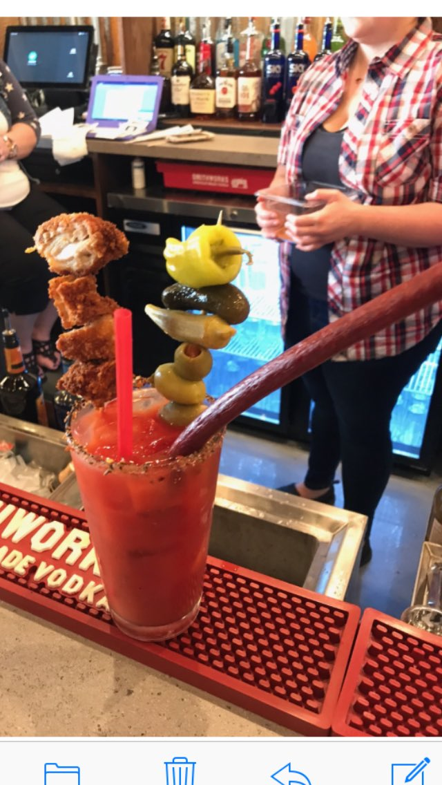 I. Am. In. Heaven!!!! Ole Red Bloody Mary made with @SmithworksVodka.... And everything else they could find!!! https://t.co/IfcDlIvXiR