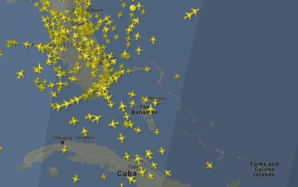 Current air traffic around south florida at this hour, per
