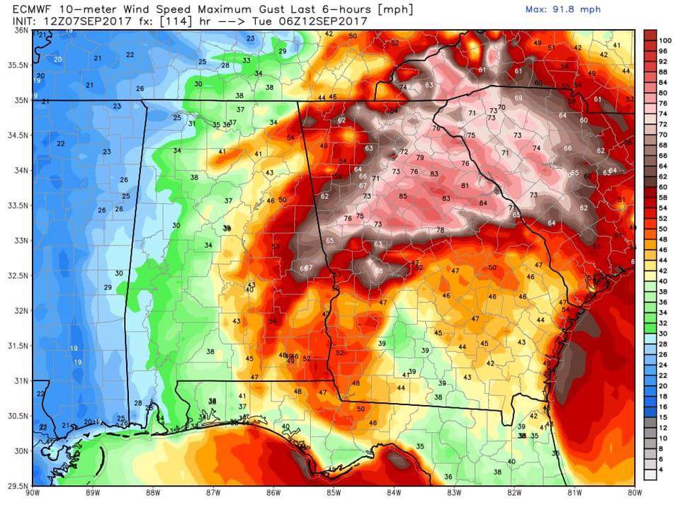 @ncrainbowgrrl @maddezmom Georgia will also feel the affects. 50 to 60mph winds + a lot of rain. https://t.co/fvtRtvdZAg