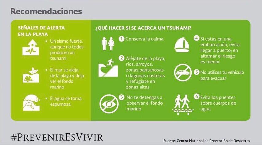 Por alerta de #Tsunami en  costas del Pacífico mexicano, sigan estas recomendaciones. https://t.co/CQN9rWLLPS