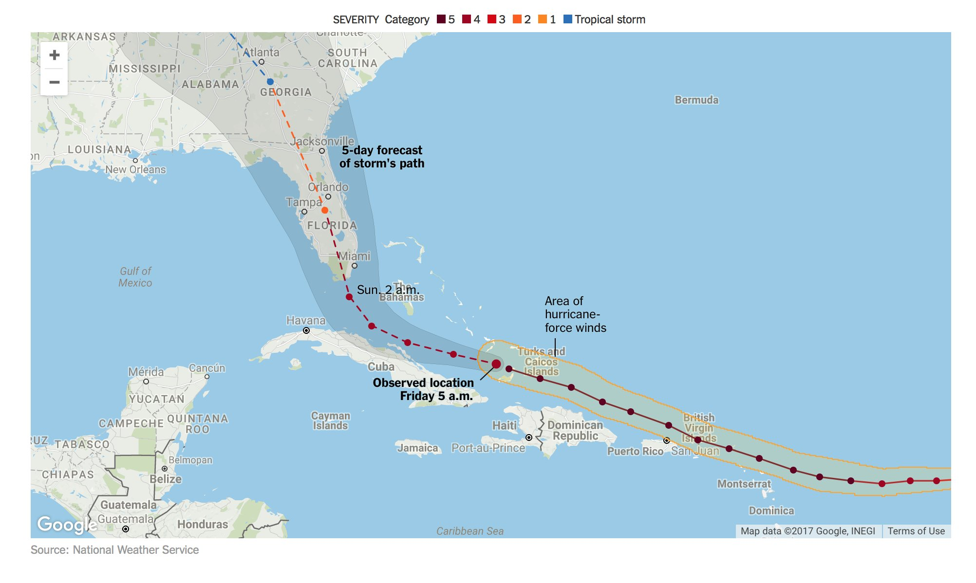 Maps: Tracking the path of Hurricane Irma https://t.co/qTyeBM1SYY https://t.co/9UTTQyzx5L