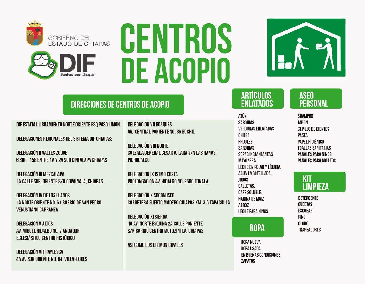 Aquí los Centros de Acopio en #Oaxaca y #Chiapas, para ayuda a la población de esos estados. https://t.co/IcKtADZDQn