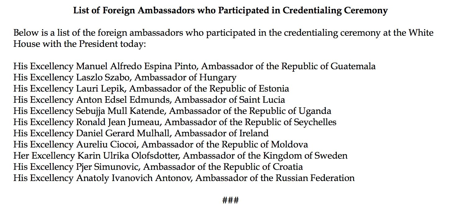 New Russian Ambassador among those who participated in credentialing ceremony at the WH today https://t.co/qqK30w7ZOX