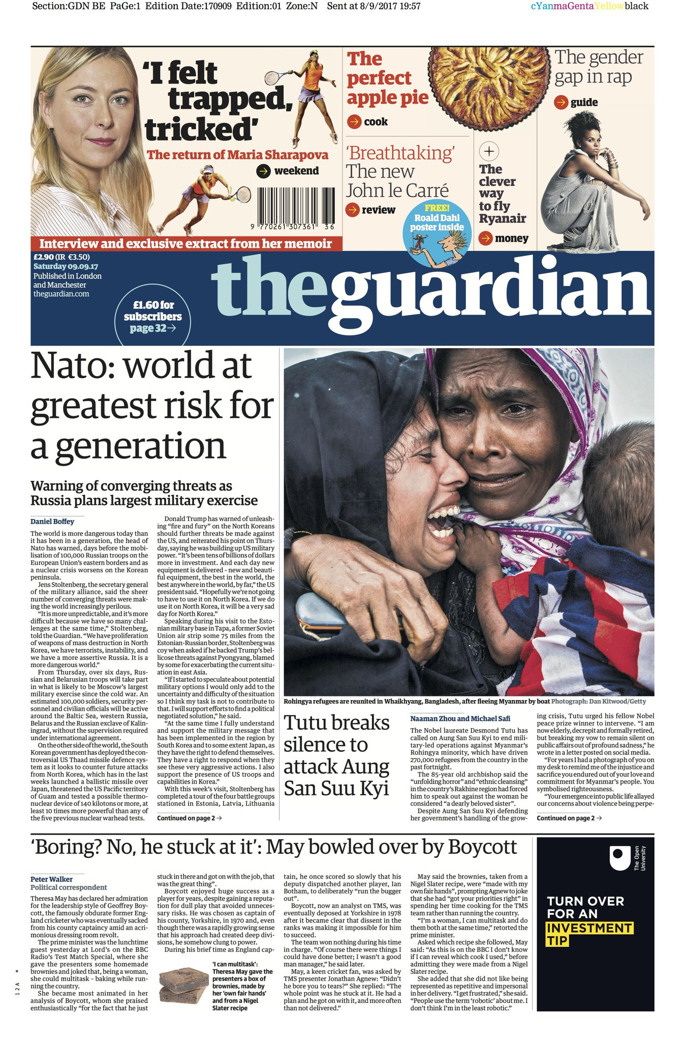 Guardian front page, Saturday 9 September 2017: Nato says world at greatest risk for a generation https://t.co/6tep4nrR2g