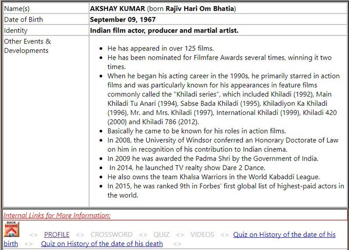 AKSHAY KUMARIndian film actor, producer and martial artist.September 09 - Happy Birthday