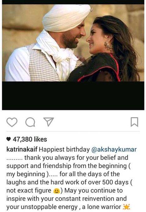 Katrina Kaif wishes Akshay Kumar happy birthday
