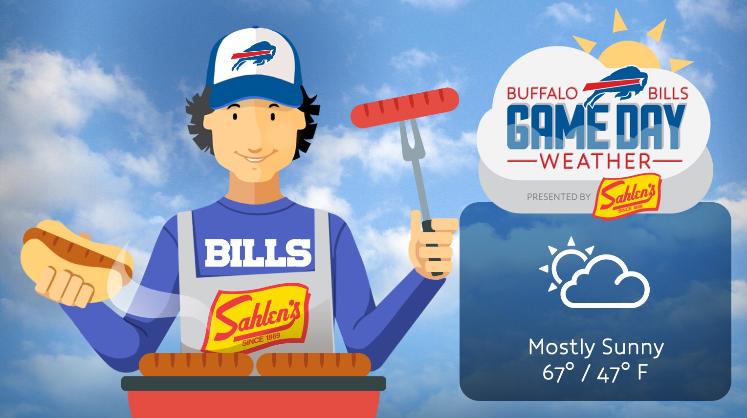 Tomorrow's forecast? Perfect fall weather with a 100% chance of football.  #NYJvsBUF #GoBills https://t.co/Tv7rMkxEk3