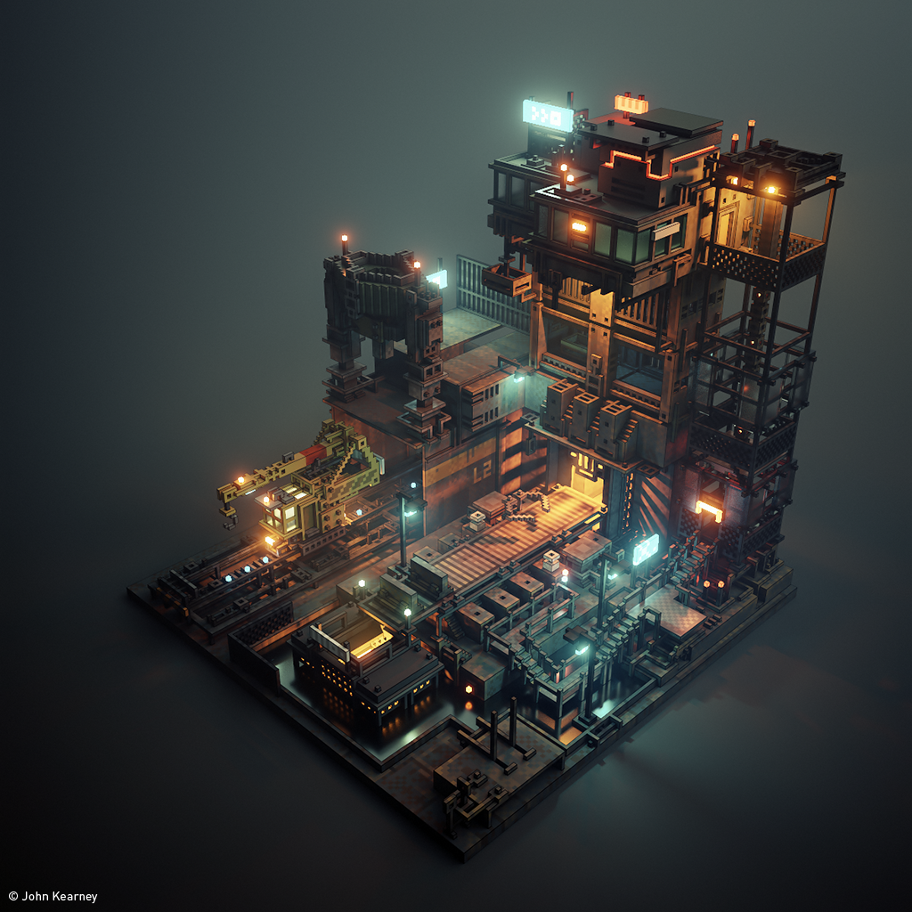 Not had much time recently but here's a work-in-progress of a little factory. I'll animate it at some point! #magicavoxel #gamedev #indiedev https://t.co/Gs22TqgBQ4