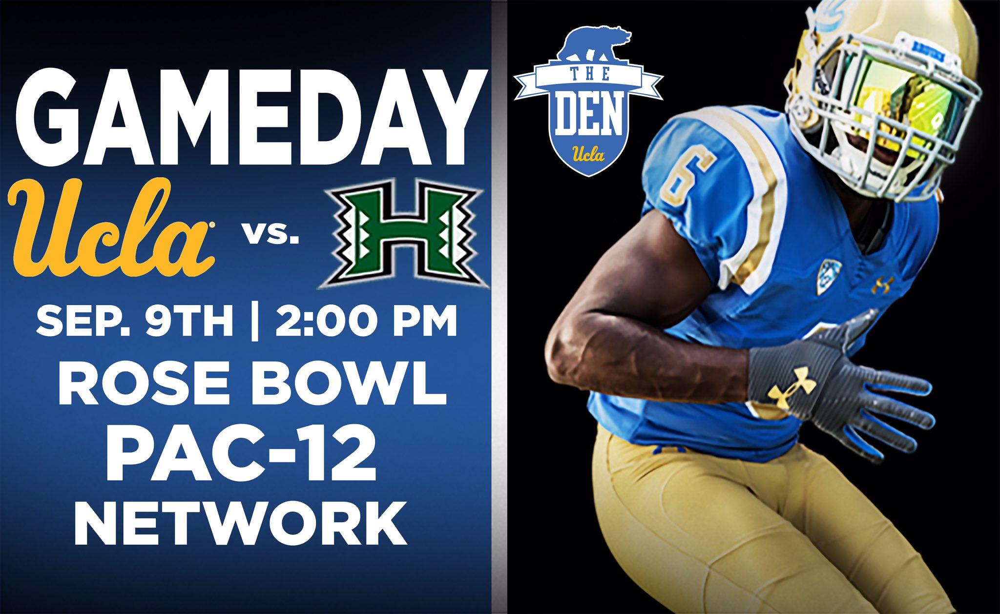 GET UP, IT'S GAMEDAY   ��: @UCLAFootball vs. Hawaii ��: 2:00 PM PT ��: @RoseBowlStadium  ��: @Pac12Network   #BeatHawaii https://t.co/vL5wk4da2S