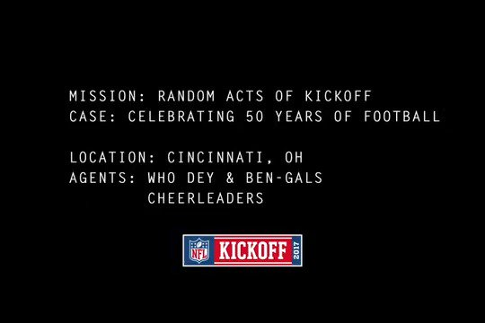 Mission: #RandomActsOfKickoff  Case: Celebrate the start of the 50th Season of #Bengals football  #Bengals50 https://t.co/uxMyqJNgla