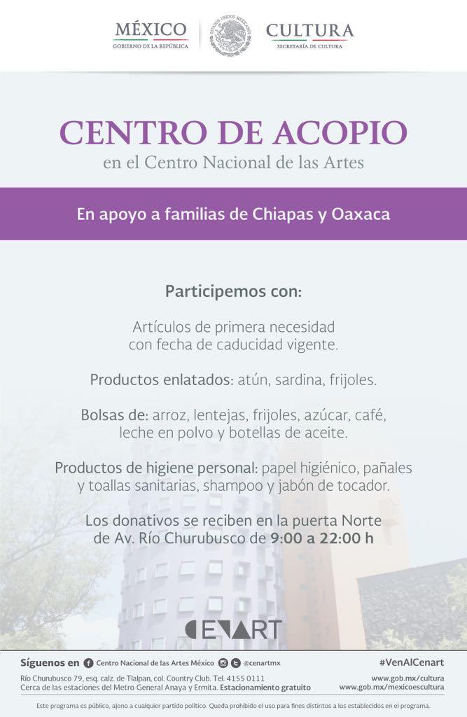 El @cenartmx se une a los Centros de Acopio de @cultura_mx para damnificados de #Oaxaca y #Chiapas ¡Apoyemos! https://t.co/qqhxNXRZHU