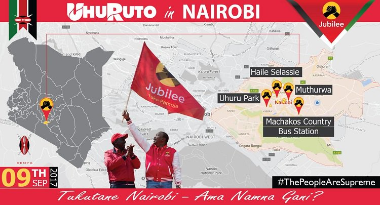 Jubilee party holds rally at Uhuru Park as NASA pitches camp in Narok