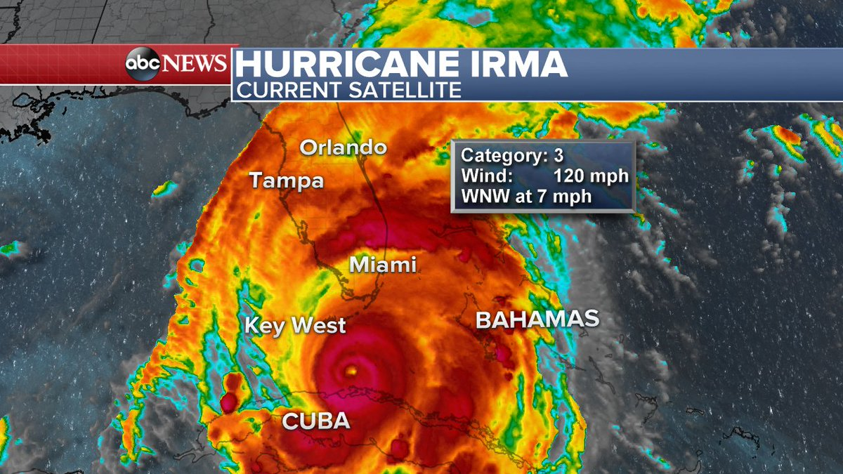 Hurricane Irma begins to batter Florida Keys with hurricane-force winds, @NWSKeyWest says.