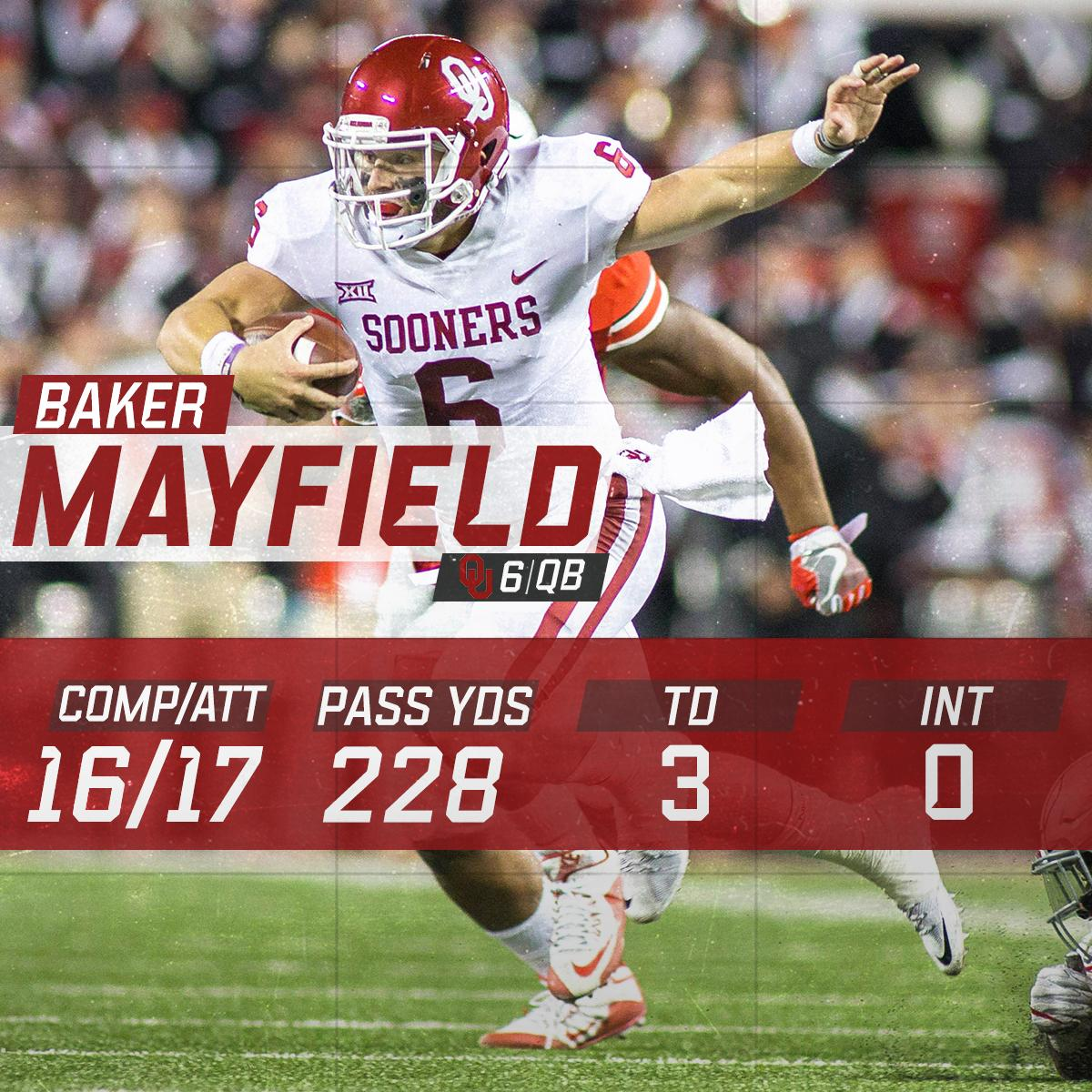 It was tied at halftime.  Then Baker Mayfield happened. https://t.co/KGAYe1jda7