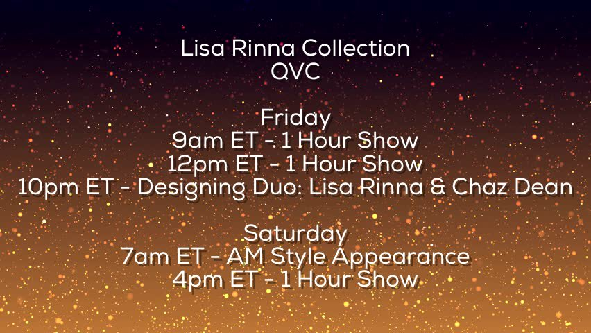I'm coming back to @QVC this Friday and Saturday with my Lisa Rinna Collection! https://t.co/zr4JlzyiFu