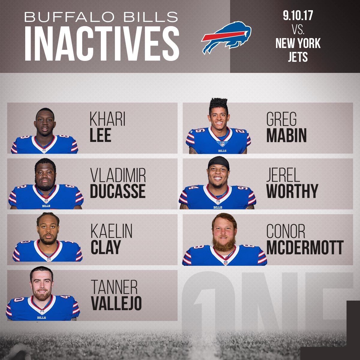 Today's Bills inactives. #NYJvsBUF  Details: https://t.co/6wazMKa2k1 https://t.co/QGsy0gRn1V