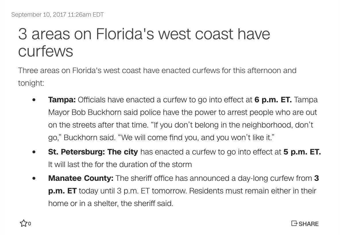 These 3 areas on Florida's west coast have curfews #HurricaneIrma https://t.co/wcKjtNkoR3 https://t.co/Payt9MadoM