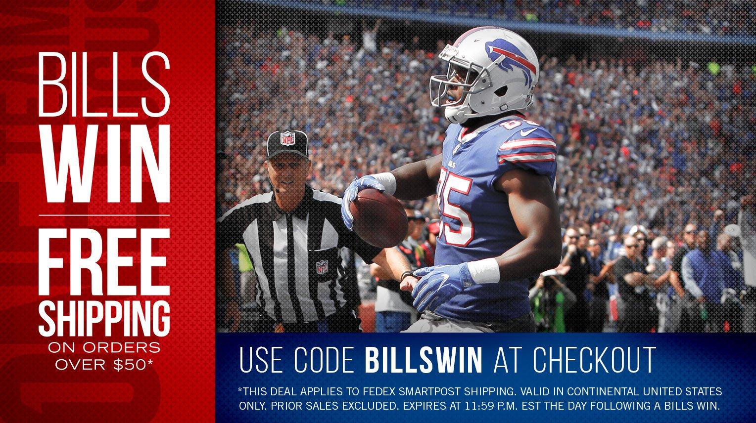 Bills win. You win.  Gear up with free shipping: https://t.co/3K3eFLG9cd https://t.co/x5D3rwXThX