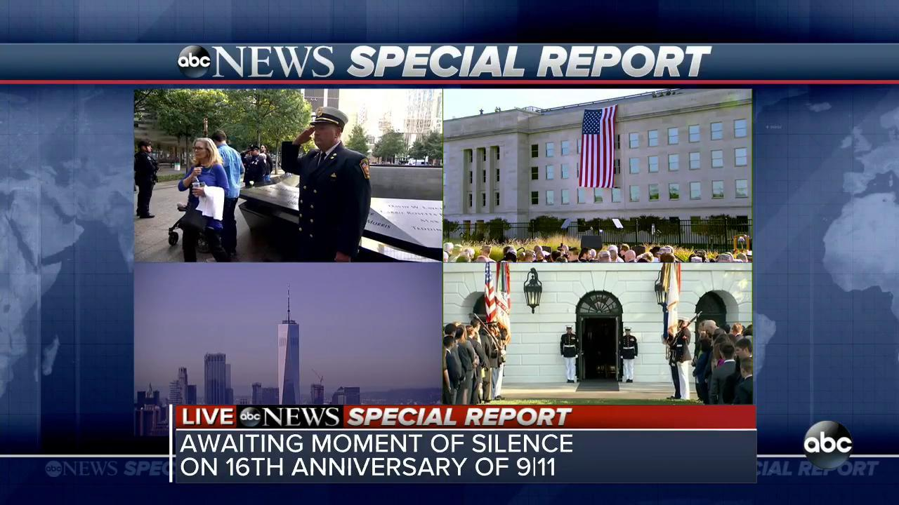 We await a moment of silence on the 16th anniversary of September 11th. #NeverForget https://t.co/lZdfrGNp0I
