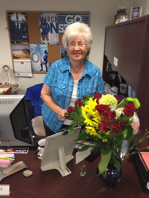 """75 years young today!  Happy Birthday to Sycamore team Grandma, Madonna \""""Donna\"""" Bell."""