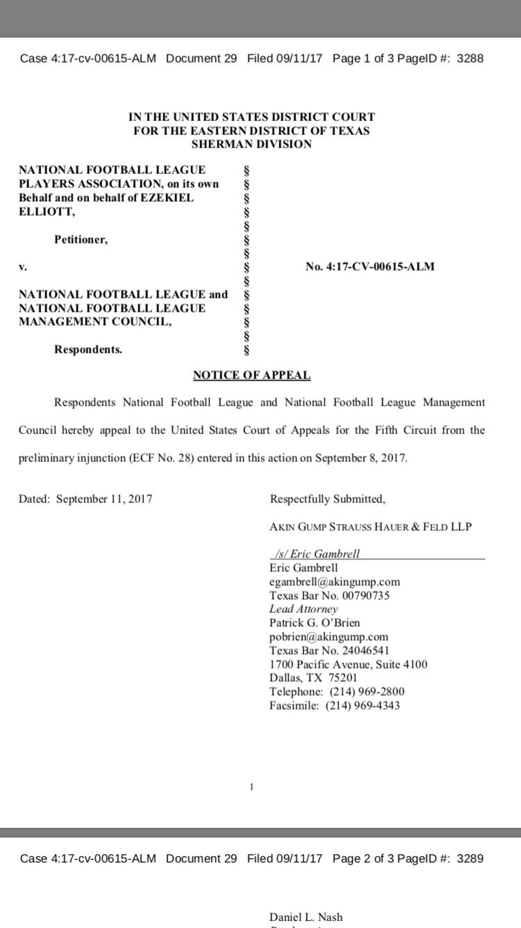 Here is page 1 of the @NFL's notice of appeal of the Zeke Elliott injunction he received to continuing playing. https://t.co/frp34gkYRw