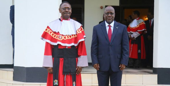 President Magufuli swearing in Prof Juma as the new Chief Justice