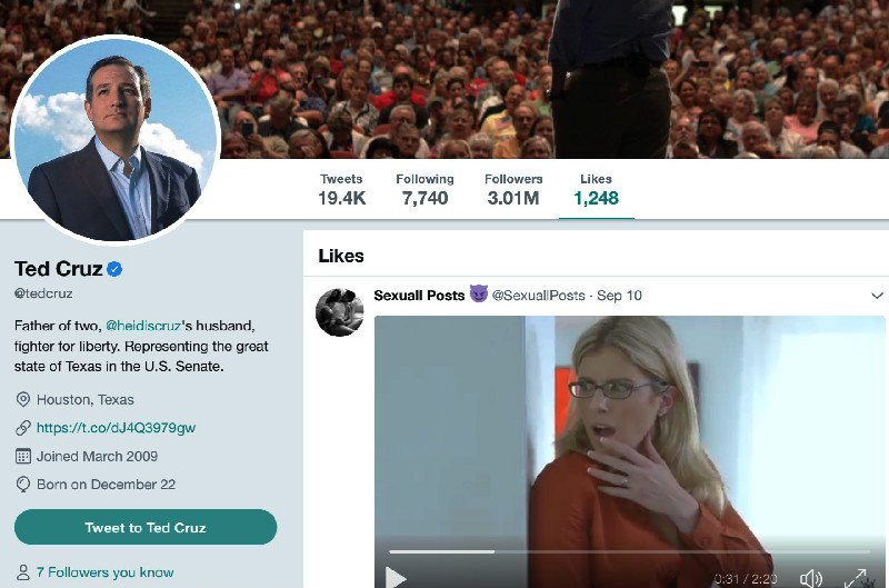 Ted Cruz Breaks Twitter After His Personal Verified Account 'Likes' a Porn Clip https://t.co/0bJjZBOaDT https://t.co/F2ibFyL7Zt