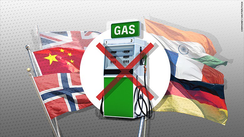 China, India, France, Britain and Norway want to completely ditch gas and diesel cars