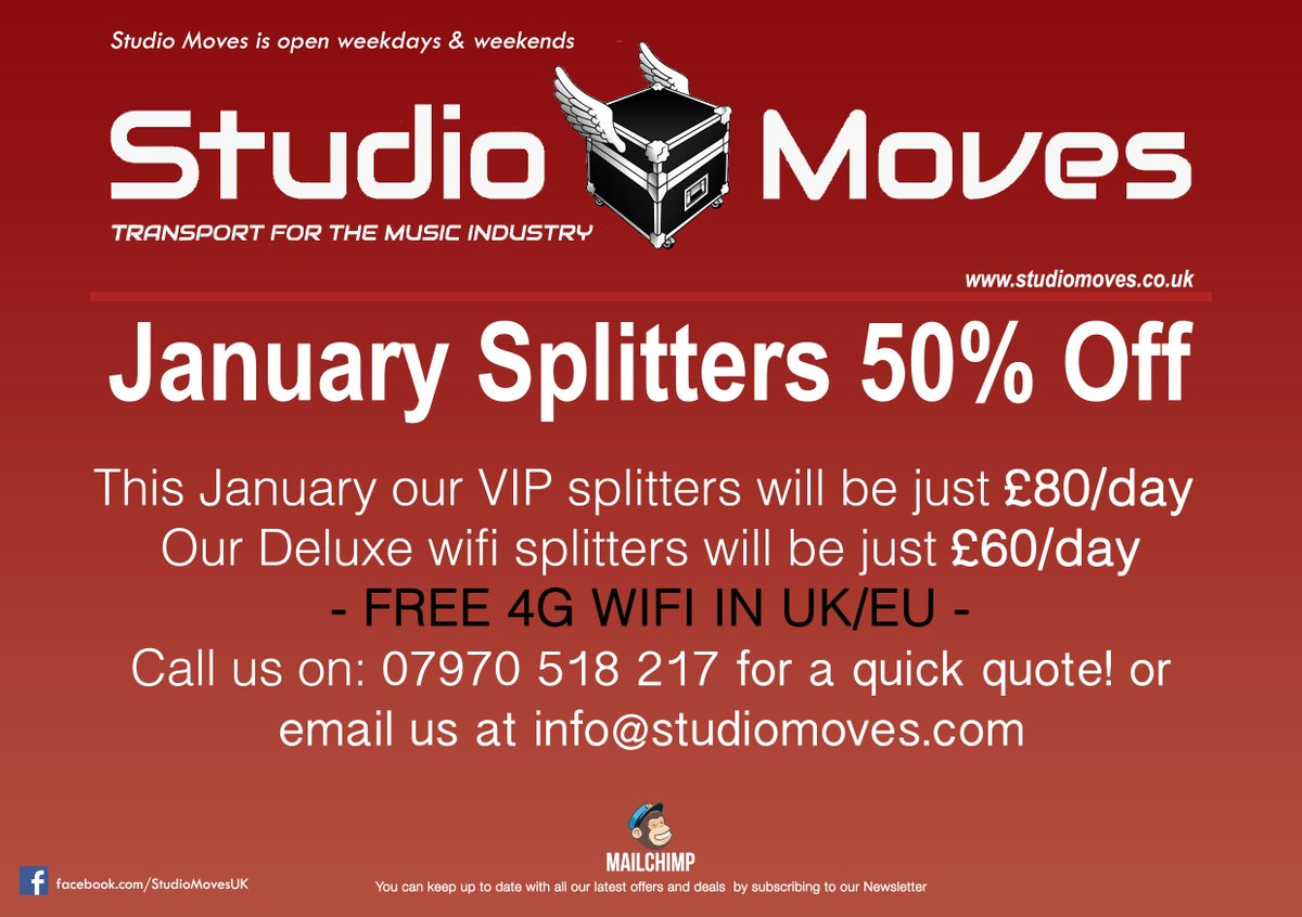 BREAKING NEWS - 50% OFF all splitter hires in JANUARY 2018! #TuesdayThoughts #Studiomoves #music #musicindustry https://t.co/uFo4t5y8ip