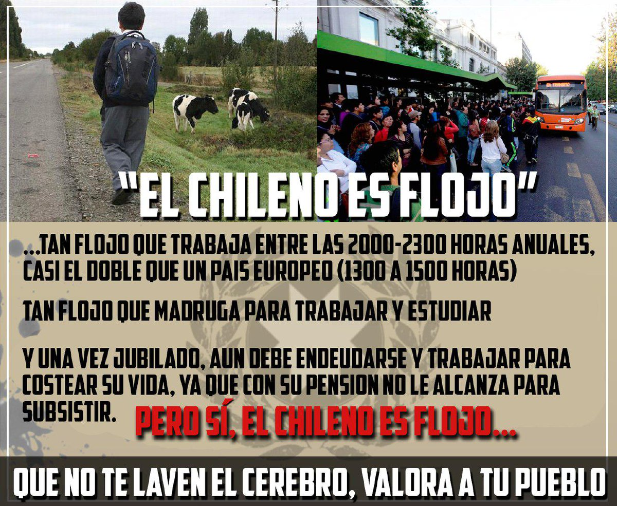 RT @Guerracami3: #UnaExcusaRepetidaEs Decir que el Chileno es flojo https://t.co/tzrrv5jar9