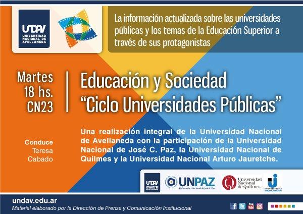 Lanzamiento en TV | CN23 emitirá un ciclo educativo realizado por universidades públicas - Martes, 18 horas. https://t.co/PYehS1IddE